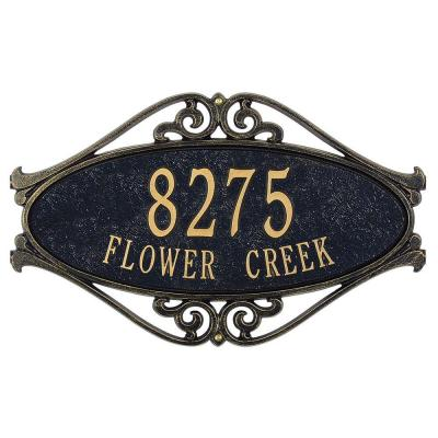 Hackley Fretwork Oval Black/Gold Standard Wall Two Line Address Plaque