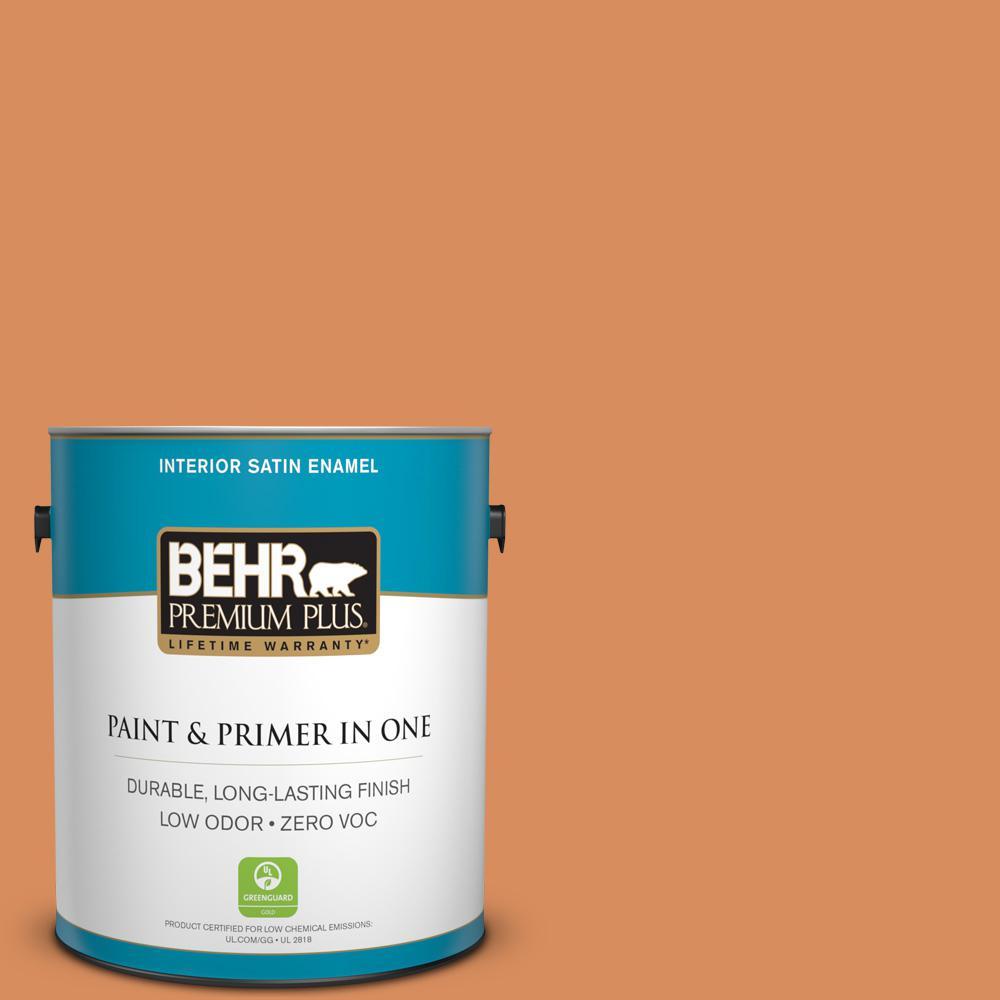BEHR Premium Plus 1-gal. #M220-6 Pumpkin Puree Satin Enamel Interior Paint