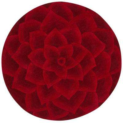 Corolla Red 6 ft. Round Area Rug