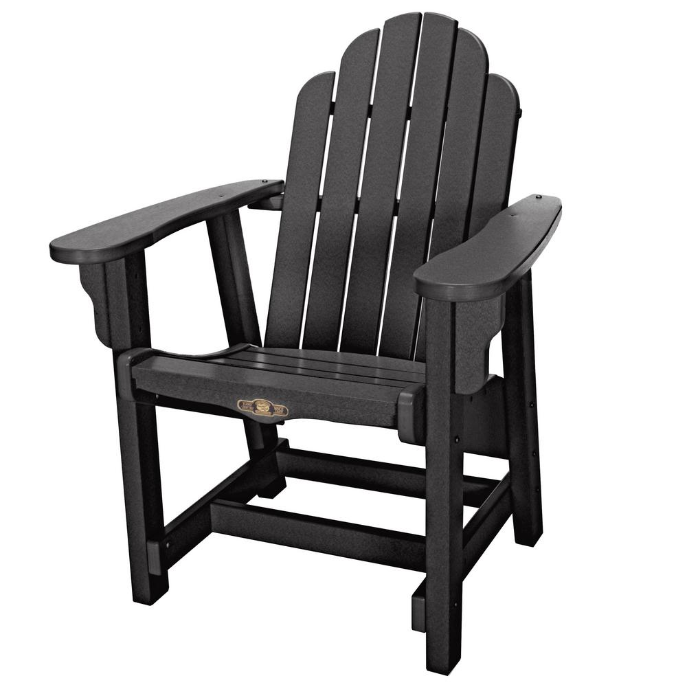 DuraWood Essentials Outdoor Plastic Adirondack Chair In Black