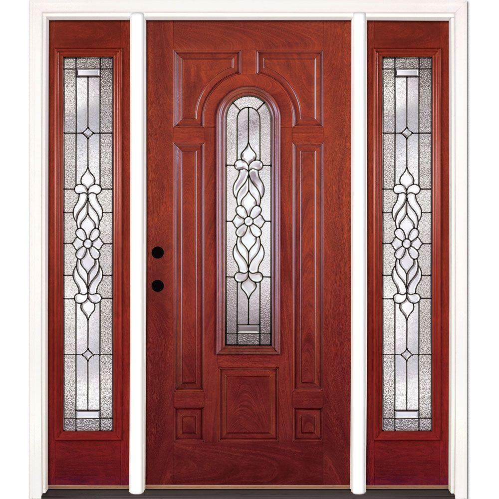 Feather River Doors 63.5 in. x 81.625 in. Lakewood Patina Stained Cherry Mahogany Right-Hand Fiberglass Prehung Front Door with Sidelites