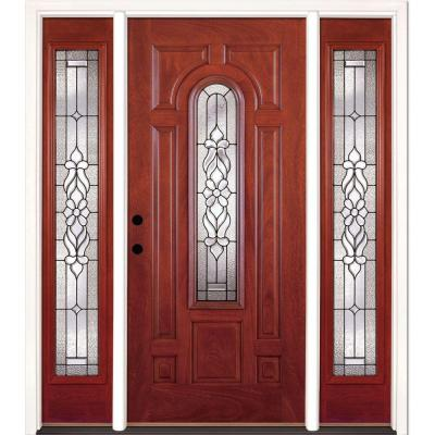 63.5 in. x 81.625 in. Lakewood Patina Stained Cherry Mahogany Right-Hand Fiberglass Prehung Front Door with Sidelites