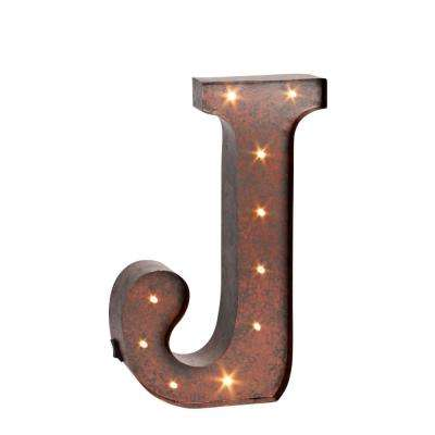 "12 in. H ""J"" Rustic Brown Metal LED Lighted Letter"