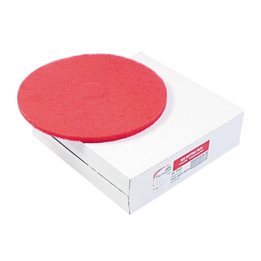 Captivating 12 In. Dia Standard Buffing Red Floor Pad