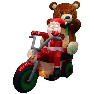 6.50 ft. Pre-lit Inflatable Santa with Teddy Bear on Motorcycle Airblown Scene