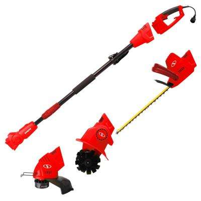 4.5 Amp Electric Lawn and Garden Multi-Tool System Hedge/Pole Trimmer, Grass Trimmer, Garden Tiller in Red
