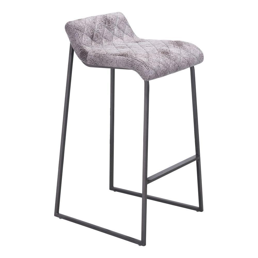 Zuo Modern Father 30.3 in. Vintage White Cushioned Bar Stool