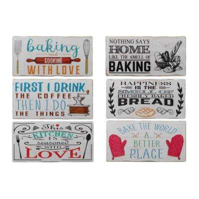 """8 in. x 16.75 in. """"Baking And Kitchen Quotes"""" Printed Wall Art"""