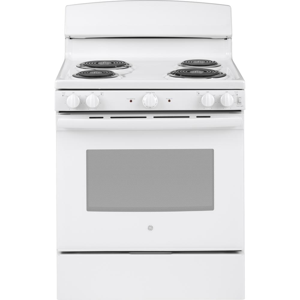 Ge 30 In 5 0 Cu Ft Electric Range Oven White