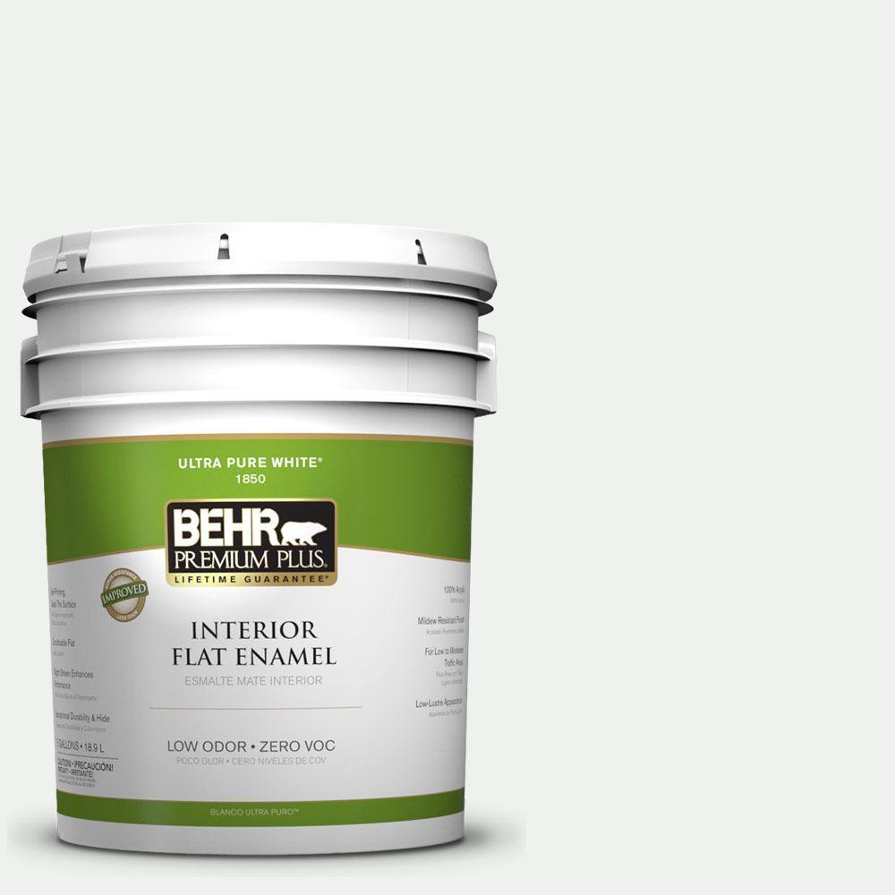 BEHR Premium Plus 5-gal. #ECC-65-2 Mineral Spring Zero VOC Flat Enamel Interior Paint-DISCONTINUED
