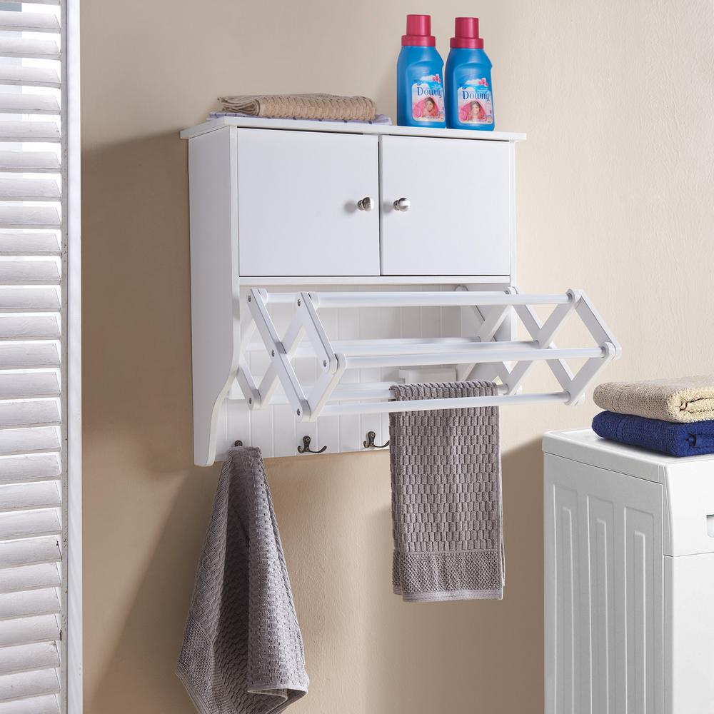 DANYA B. Accordion White Extendable Drying Rack with Cabinet