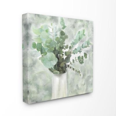 """30 in. x 30 in. """"Sage Green Painterly Eucalyptus In White Vase """" by Kimberly Allen Canvas Wall Art"""