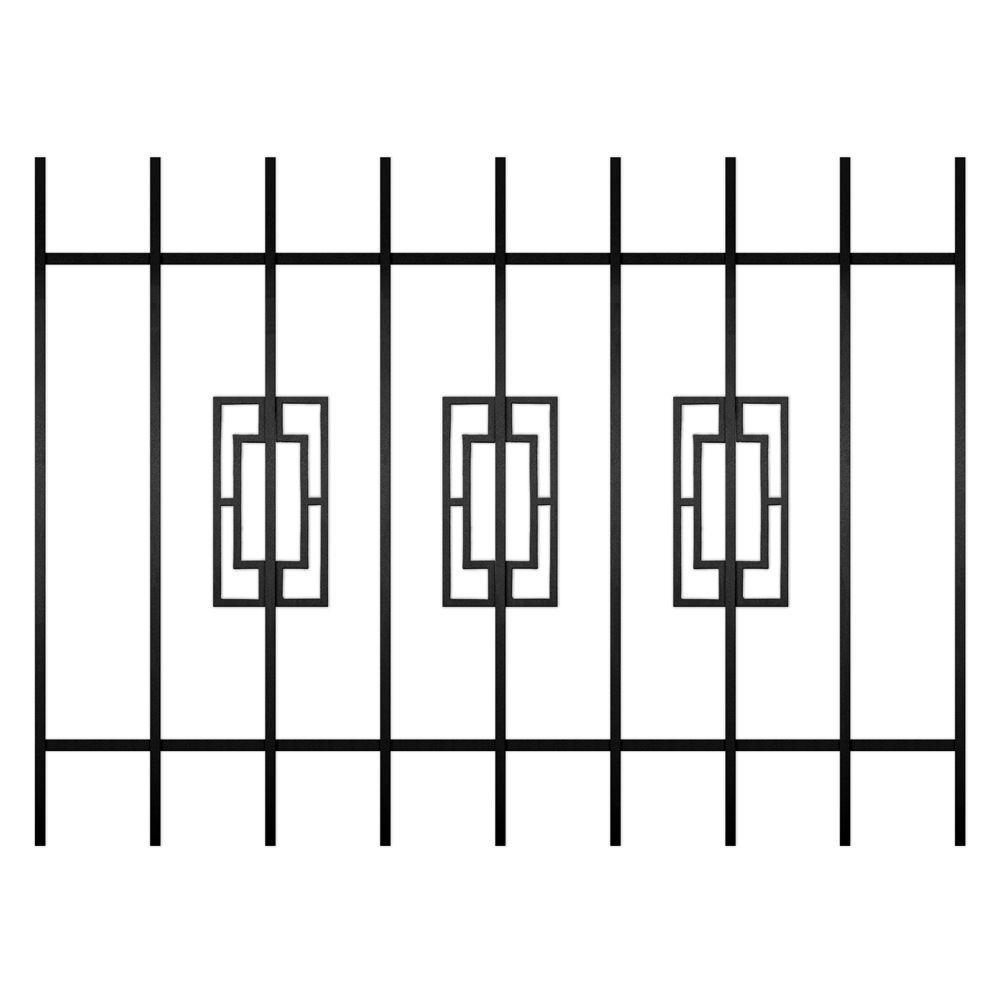 Unique Home Designs Modern Trifecta 48 in. x 36 in. Black 9-Bar Window Guard-DISCONTINUED