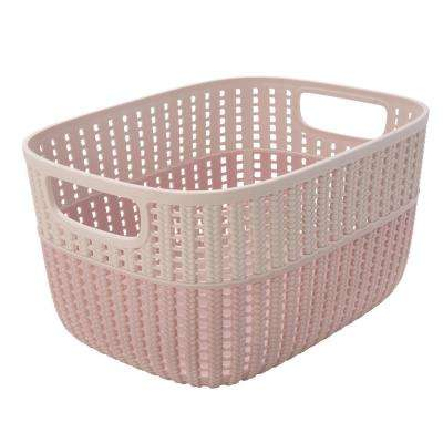 Sailor Knot 6 in. x 9 in. Medium Storage Basket in 2-Tone Blush