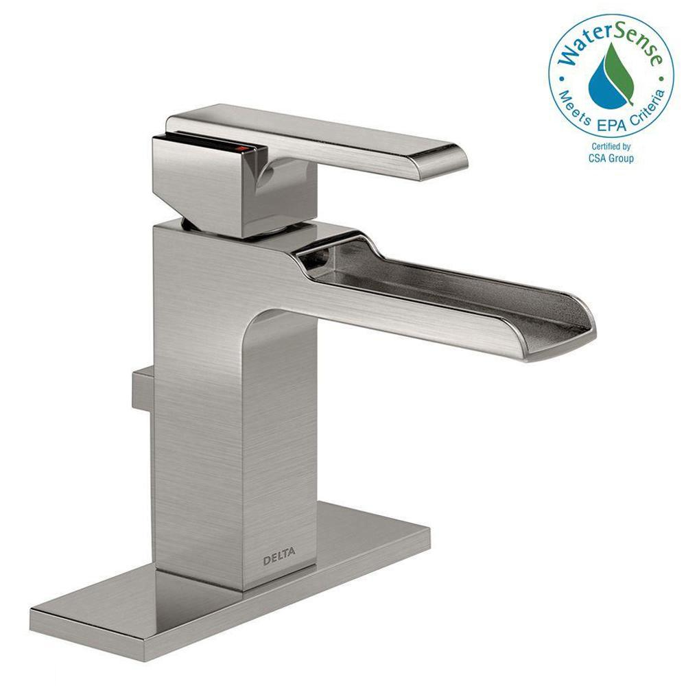 Ara Single Hole Single-Handle Open Channel Spout Bathroom Faucet with Metal