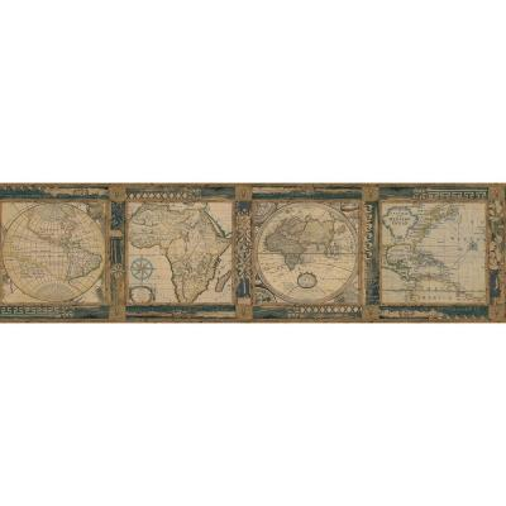 Oliver Blue Map Wallpaper Border Sample