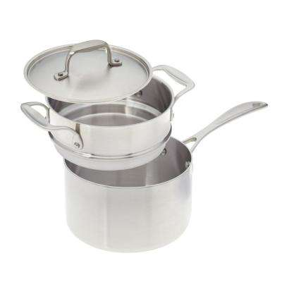 3 Qt. Premium Stainless Steel Saucepan with Double Boiler Insert and Cover