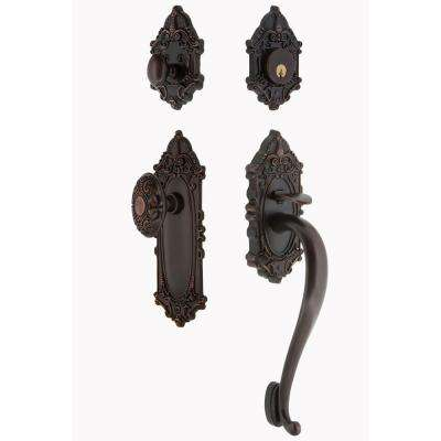 Victorian Plate 2-3/8 in. Backset Timeless Bronze S Grip Entry Set Victorian Knob