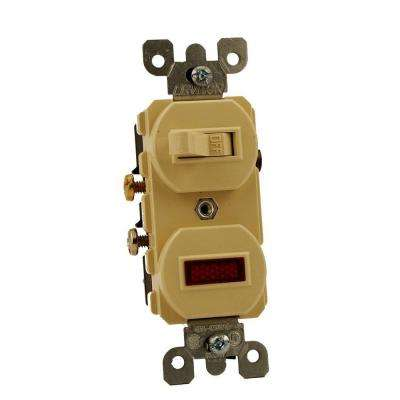 15 Amp Commercial Grade Combination Single Pole Toggle Switch and Neon Pilot Light, Ivory