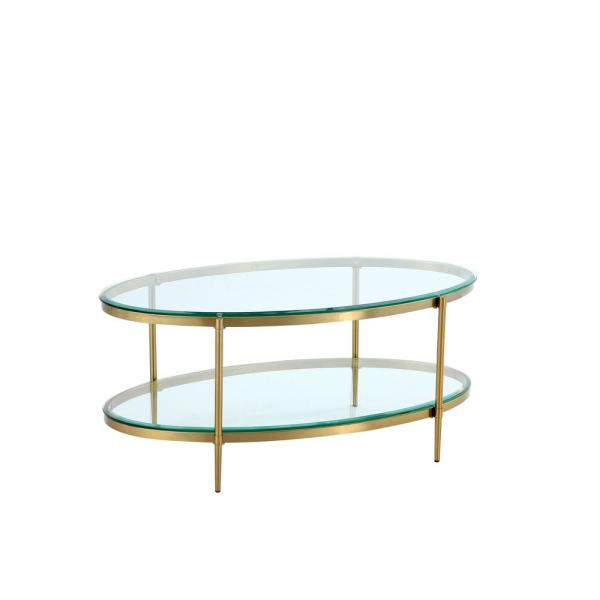 18 in. Gold Oval Coffee Table with Glass Table Top and Storage shelf