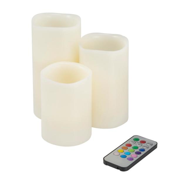 Lavish Home 3-Piece LED Color Changing Flameless Votive Candle Set with