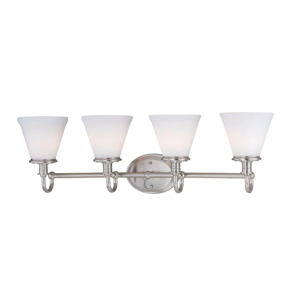 Illumine Designer Collection 4-Light Steel Bath Vanity Lamp with Frost Glass