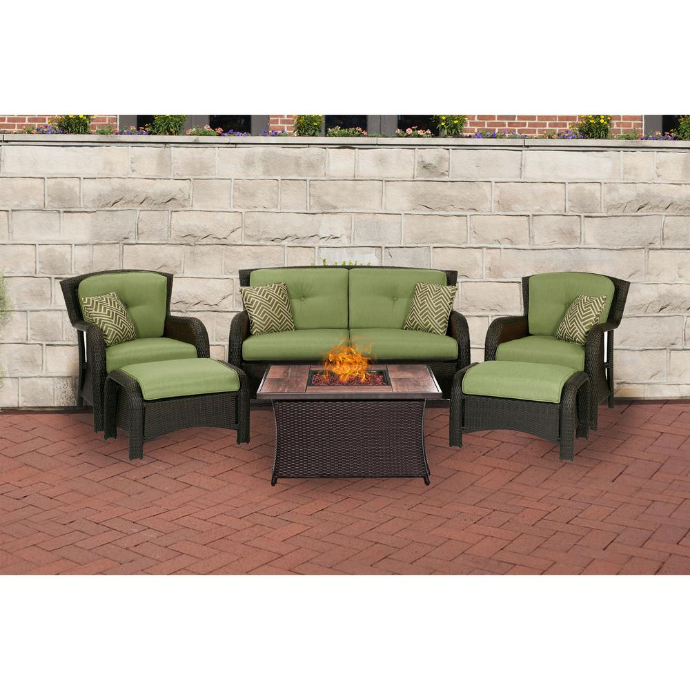 Hanover Strathmere 6 Piece Steel Patio Fire Pit Conversation Set With Cilantro Green Cushions