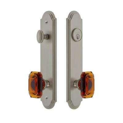 Arc Tall Plate 2-3/4 in. Backset Satin Nickel Door Handleset with Baguette Amber Door Knob