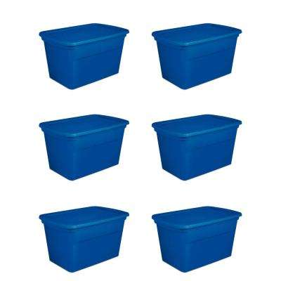 30 Gal. Plastic Stackable Storage Bin Container Box, Blue (6-Pack)
