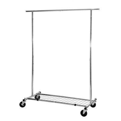 Commercial Single Rod Expandable Garment Rack with Bottom Shelf
