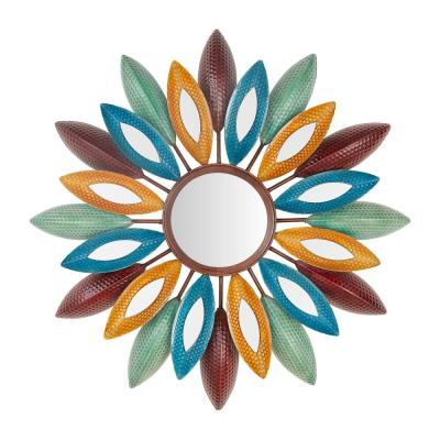 Medium Sunburst Multi-Colored Metal Art Deco Accent Mirror (26 in. Diameter)