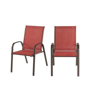 Mix and Match Brown Steel Sling Outdoor Patio Dining Chair in Chili Red (2-Pack)