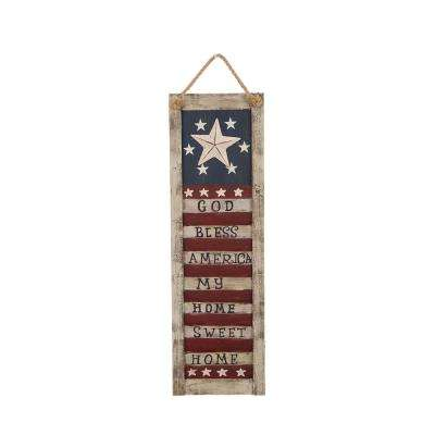21.85 in. H Wooden Flag Shutter Wall Sign