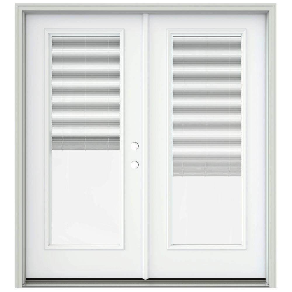 Jeld wen 72 in x 80 in brilliant white prehung left hand for Prehung patio doors