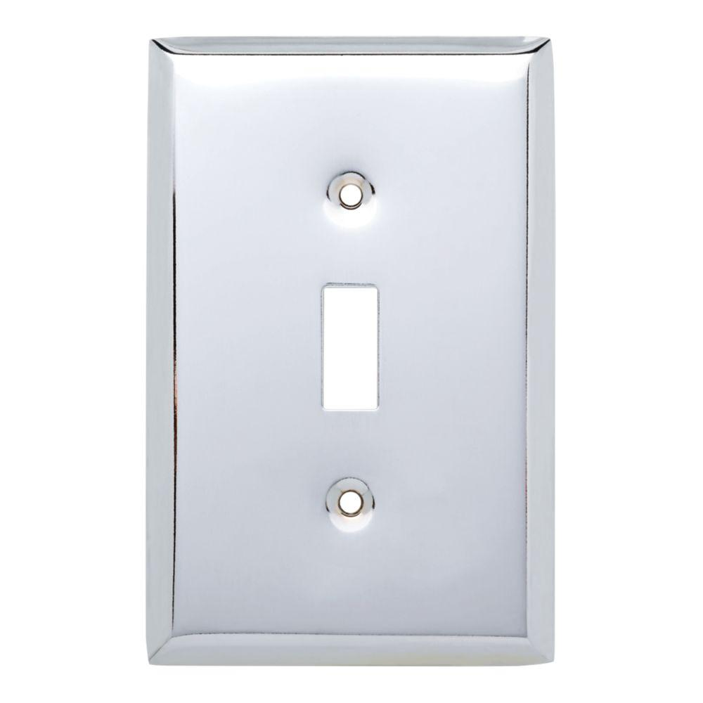 Stamped Square Decorative Single Switch Plate, Polished Chrome (25-Pack)