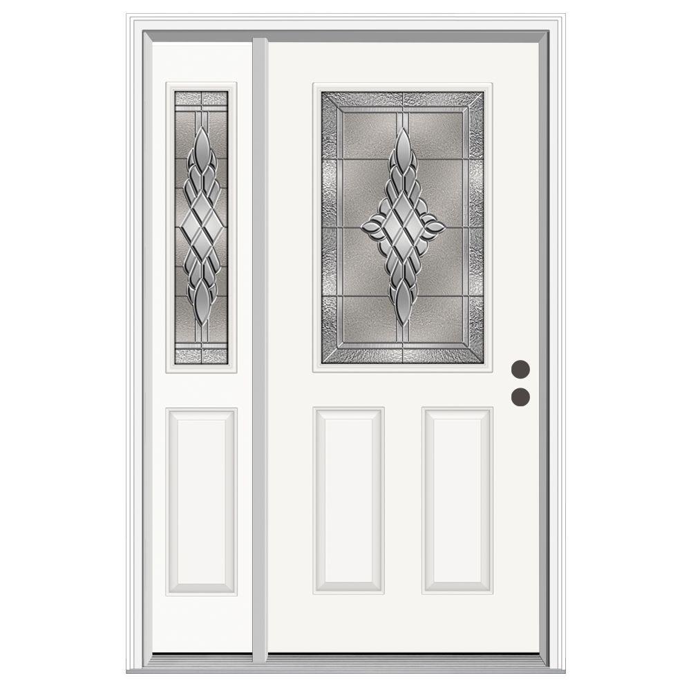 JELD-WEN 50 in. x 80 in. 1/2 Lite Hadley Primed Steel Prehung Left-Hand Inswing Front Door with Left-Hand Sidelite