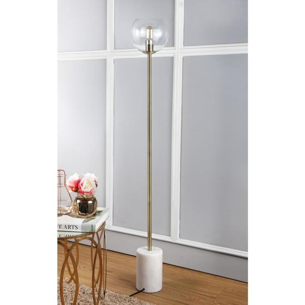 Safavieh - Bradley 61 in. White/Brass Gold Floor Lamp with Clear Open Globe Shade