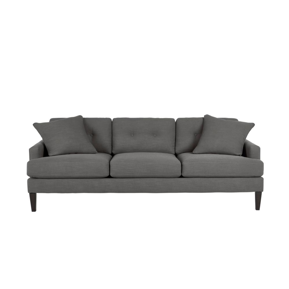 Home Decorators Collection Pembrook Cambric Charcoal Gray Straight Standard Sofa Tuftin For Sofas