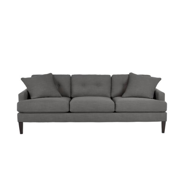 Pembrook Cambric Charcoal Gray Straight Standard Sofa with Tufting for 3 (86.5 in. W x 33.5 in. H)