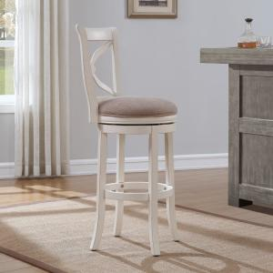 +2. American Woodcrafters Accera 34 In. Distressed Antique White Swivel  Tall Bar Stool