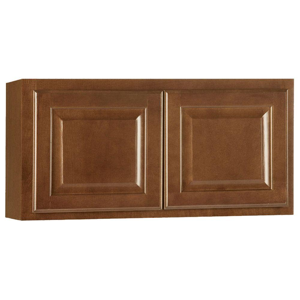 Hampton Bay Hampton Assembled 30x15x12 in. Wall Bridge Kitchen Cabinet in Cognac
