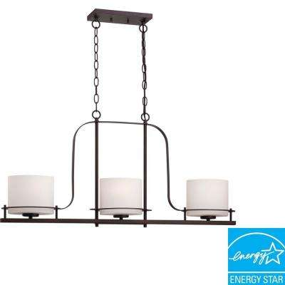 3-Light Venetian Bronze Island Pendant with Oval Frosted Glass Shade