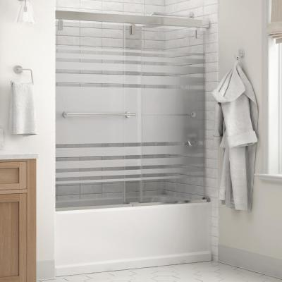 Lyndall 60 x 59-1/4 in. Frameless Mod Soft-Close Sliding Bathtub Door in Chrome with 1/4 in. (6mm) Transition Glass