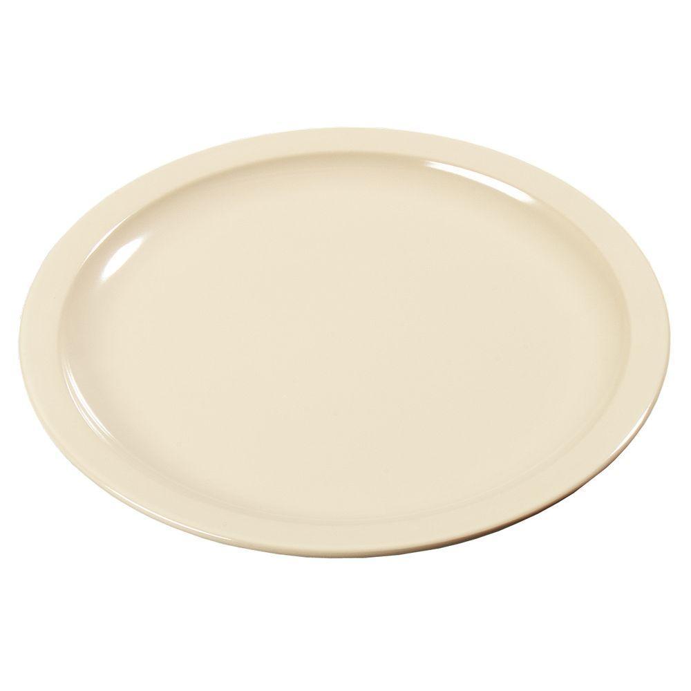 7.22 in. Diameter, 0.74 in. H Melamine Sandwich Plate in Tan