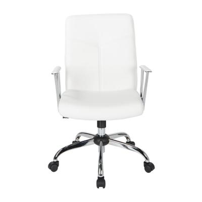 Faux Leather Chair in White with Chrome Base