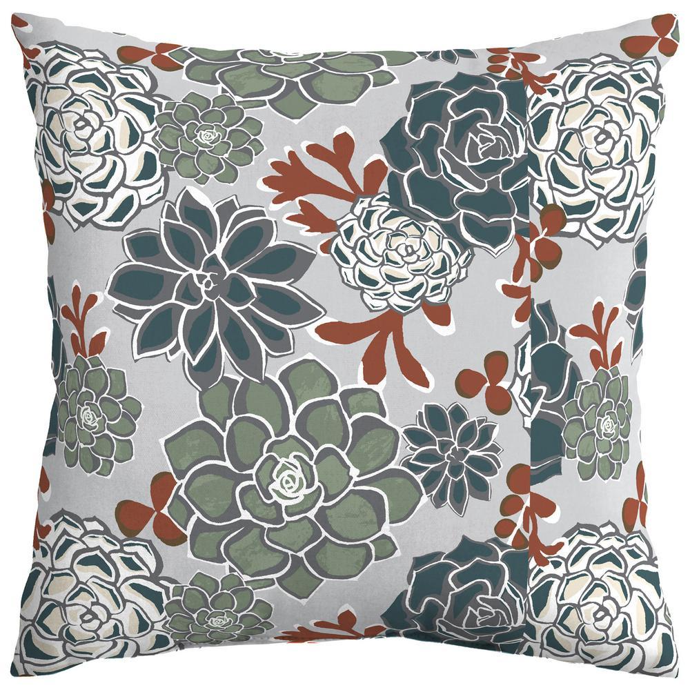 "In//Outdoor Throw Pillows-Orange Teal Gray 17/"" x 17/"" Set of 2 Bohemian"