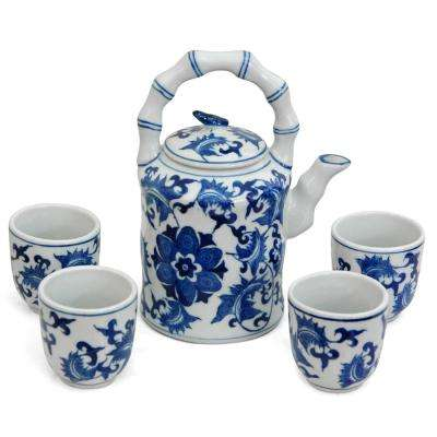 Oriental Furniture Floral Blue and White Porcelain Tea Set