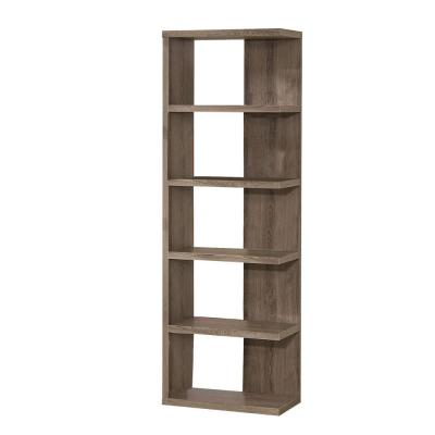 70.75 in. Gray Wood 5-shelf Corner Bookcase