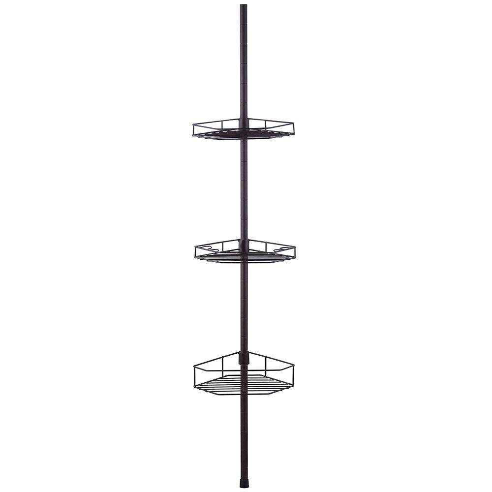 Home Basics Tension Rod Shower Caddy In Bronze Sc01533 The Home