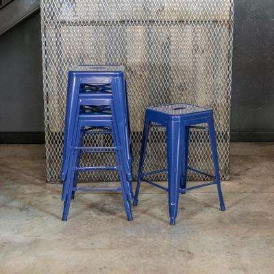 Loft Style 24 in. Stackable Metal Bar Stool in Blue (Set of 4)